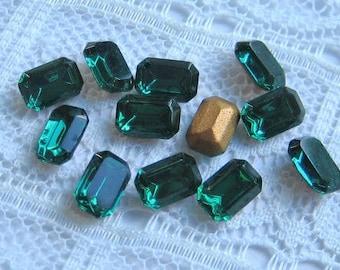 Swarovski 6x4 mm Emerald Green Octagon Rhinestones Qty 12