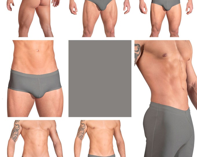 Solid Steel Gray Swimsuits for Men by Vuthy Sim.  Choose Thong, Bikini, Brief, Squarecut, Boxer, or Board Shorts - 18