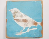 Shabby chic wall art, Robin on Reclaimed Picket Fencing Wood