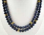 Long Blue Necklace Long Blue Gemstone Necklace Dark Blue Dumortierite Necklace Blue Necklace Beaded Long Dark Blue Strand