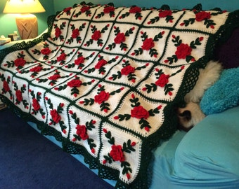 Red Summer Roses Afghan Bedspread - Made Fresh after sale - 30 squares