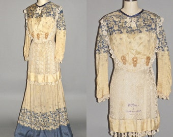 Edwardian Dress, Antique Crochet Lace Silk Bodice and Skirt, Downton Abbey Tea Dress