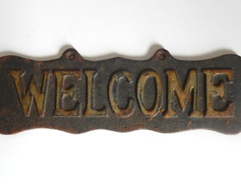 Mid Century Cast Iron Double Sided WELCOME House / Mailbox Sign