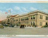 Union Railroad Station Depot Des Moines Iowa 1920s postcard