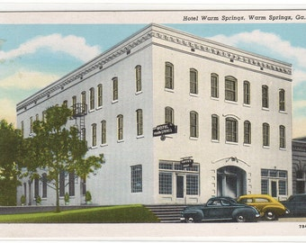 Hotel Warm Springs Cars Georgia linen postcard