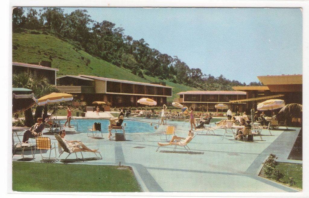 Mission valley inn swimming pool san diego california postcard - Clairemont swimming pool san diego ca ...