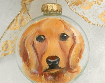 Golden Retriever Hand Painted Ornament ~ Gifts for Him ~ Dog Portrait ~ Golden Retriever Portrait ~ Dog Ornament