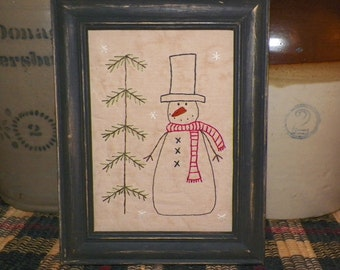 UNFRAMED Snowman Primitive Picture Stitchery Country Christmas Gift Idea Decoration Holiday Seasonal Home Decor Winter Snowmen wvluckygirl