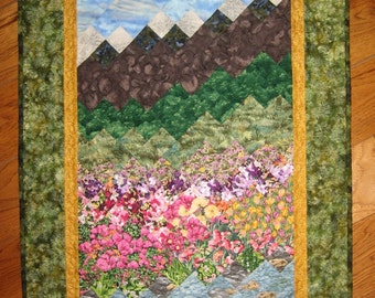 Summer Flowers Stream and Mountains Art Quilt Fabric Wall Hanging Quilted Wall Hanging Wall Decor Landscape Quilt Cabin Decor Handmade