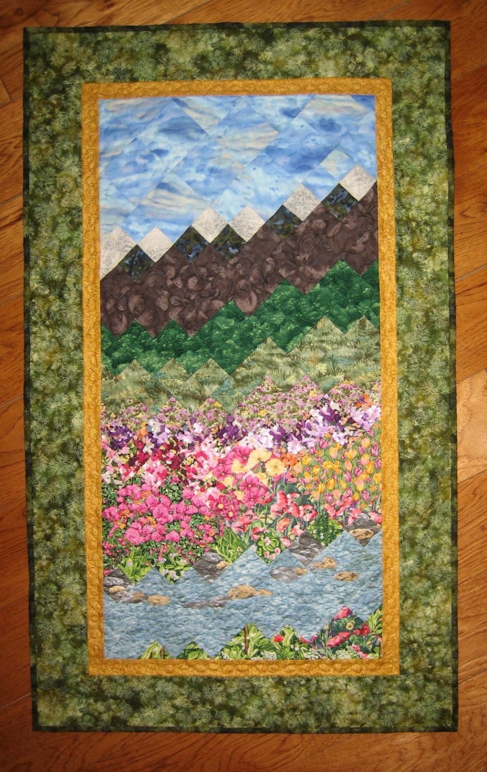 Summer Flowers Stream And Mountains Art Quilt Fabric Wall