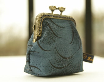 Bronze metal frame coin purse/ blue pearls /Downton Abbey Women's collection/ Mary's plume/ black feathers on dark blue.