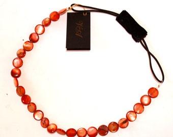 Orange Headband, Orange Gemstone Elastic Headband, Shell Headband, Stretchy, Gemstone Headband, Elastic, Womens Headband, Hair Accessory