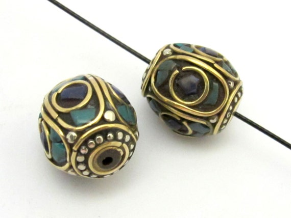 1 Bead - Large size nepalese brass bead with turquoise lapis inlay - BD634