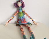 ON RESERVE for Kathleen T - Handmade hand sown art doll fairy tale art doll long arms long legs fiber art doll collection OOAK