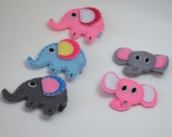 Elephant Felt Hair Clippie - You Pick Your Favorite Design & Color