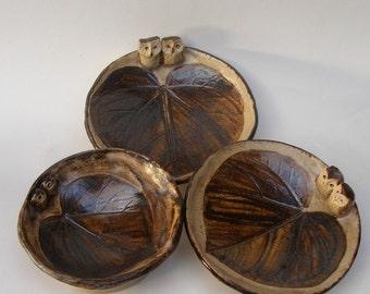 Small ceramic owls bowl Ceramic  Set of three Little Sotneware Plates