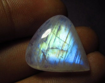 20x21 mm Huge Size - Rainbow Moonstone - High Quality Gorgeous Blue Fire Strong Flash Heart shape Cabochon