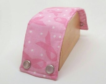 Breast Cancer Awareness Fabric Cuff Bracelet