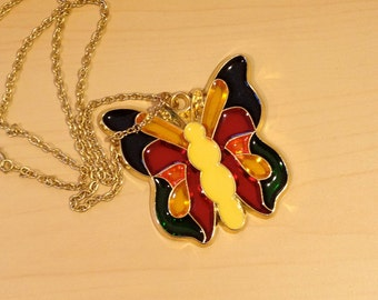 90s Butterfly Stained Glass Necklace
