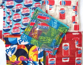 Quilted, Pepsi Fabrics, ID Holder with Pepsi Lanyard, Coin/Change Purse, Key Chain, Badge Holder,Your choice of Design.Zippered Wallet Pouch