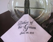 Personalized Father of the Groom machine embroidered wedding handkerchief by Sweet Sewing Jeans