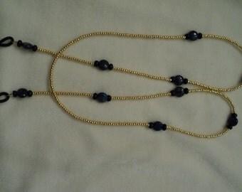 Eyeglass Lanyard Gold and Dark Blue Lapis. Keep Your Glasses Close at Hand!