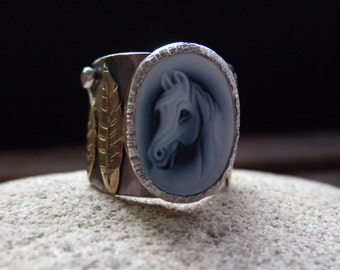 Horse Head Cameo Sterling Cigar Band Ring Size 9.5