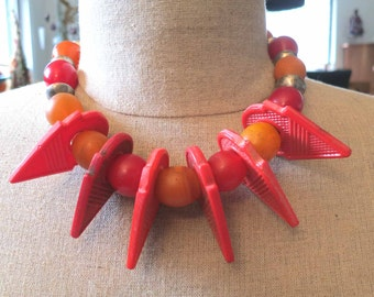 Tuareg Talhakimt pendant and red & orange egg beads necklace