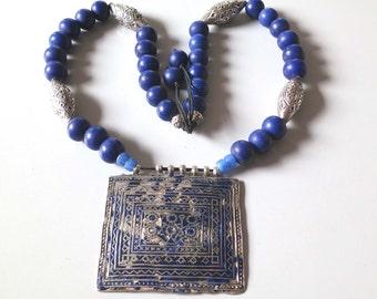 On Sale! Antique vintage tribal blue enamel traditional Multan silver pendant and blue glass bead from Pakistan Punjabi area.