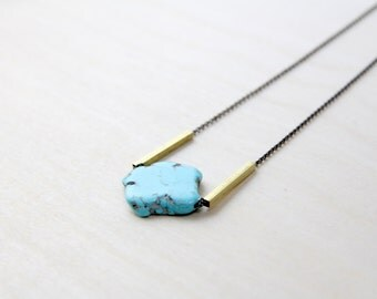 Kelly - Large Turquoise Geometric Pendant // Cival Jewelry Design // Natural Stone and Brass Bar Necklace