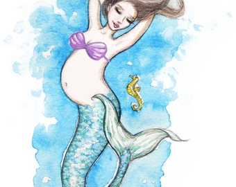 Preggie Mermaid - purple shells Card and Cake Topper
