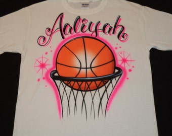 Airbrush Basketball Hoop Shirt w/ Your Name Airbrushed T-Shirt