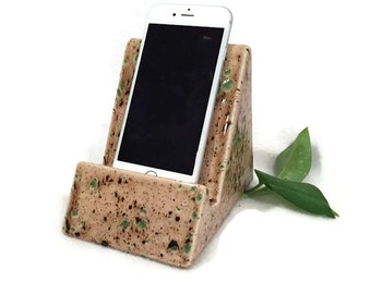 iPhone iPad Stand - Earth Tone Light Brown with Green