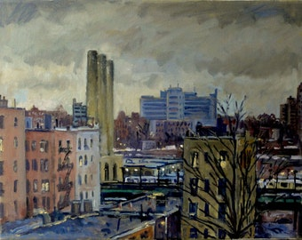 Dusk in Winter, NYC. New York City Oil Painting, 11x14 Oil on Canvas, Plein Air American Impressionist Landscape, Signed Original Fine Art