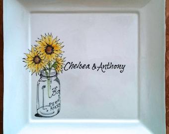 WEDDING GUEST BOOK Alternative - Unique Guest Book - Wedding Signature Plate - Sun flower -  Mason Jar