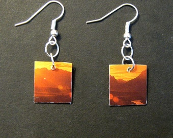 Recycled Earrings Mountains Sunset