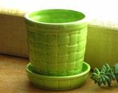 Vintage Lime Green Chartreuse Basketweave Planter