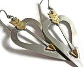 Silver Brass Heart Arrow Love Cupid Earrings