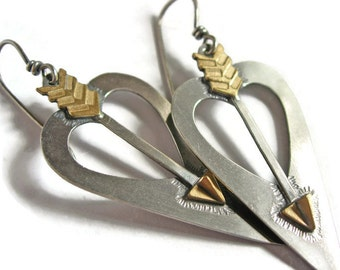 Silver Brass Heart Arrow Love Cupid Earrings