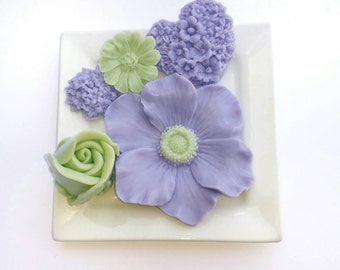 Mother's Day Gift Soap Set - Hostess Gift Soap - Purple and Green Decorative Soap Gift