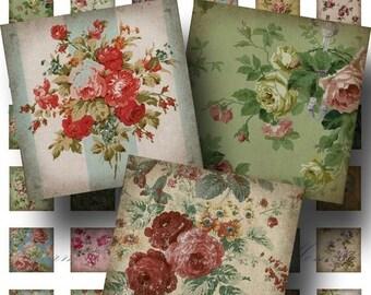 Vintage Wallpaper Digital Collage Sheet ON SALE!!! - Digital Download Floral Aged Scrabble Size #1 - Flower, Rose, Pattern INSTANT Download