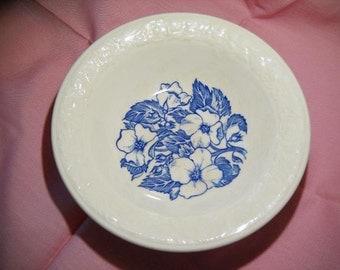 Vintage Wild Rose Bowl, Blue Flowers, Dogwood Flowers, Cereal Bowl, Dish, Soup Bowl