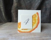 Orange Slice  - Table Number Card - Menu Card -Holidays -weddings events