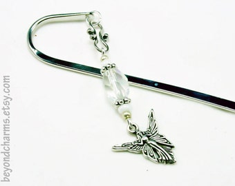 Angel Bookmark. Silver Religious Bookmark with Angel Charm. Crystal Beaded Bookmark. LBK036