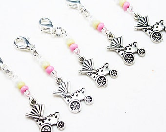 New Baby Charm. Baby Carriage Charm in Soft Pinks and Yellows. Baby Shower Favors. BSC064