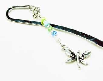 Bookmark Silver Dragonfly Book mark. Beaded Dragonfly Bookmark. Elegant Butterfly Gift. SBK006