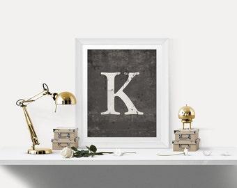 Monogram Letter Print - Rustic Distressed Letter Monogram Art - Family Name Monogram, Letter Print, Name Decor