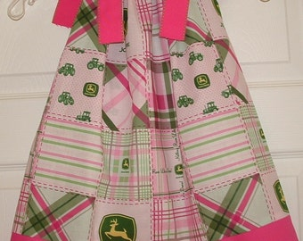 John Deere Pillowcase Dress with Hot Pink Trim -- Sizes 3Months through 5T