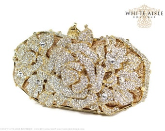 Swarovski Crystal Bridal Clutch, Crystal Rose Clutch, Gold Minaudiere, Wedding Purse, Evening Bag, Luxury Clutch