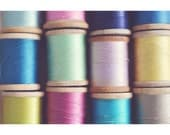 Still Life Photography, Vintage Thread Photo, Craft Room Decor, Sewing Art, Minimal, Mid Century Modern, Color Photograph, Wall Art